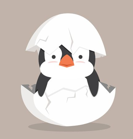 Cute Baby penguin fat hatched in egg Illustration