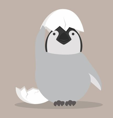 Baby penguin hatched in egg vector Illustration