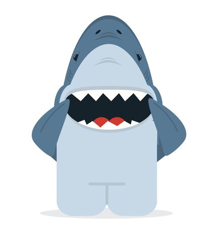 shark with open jaws smile vector