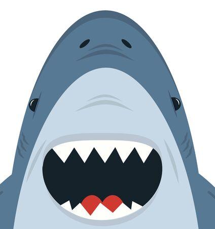 Cute White Shark open mouth vector Vector Illustration