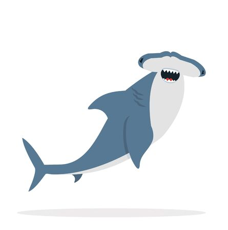 cute flat Hammerhead shark  vector
