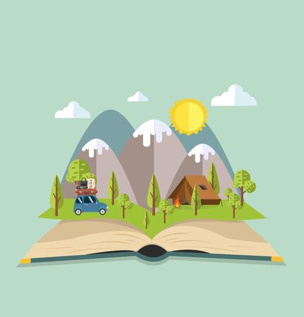 Open book of Camping Travel vector