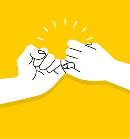 handen maken belofte vector op gele achtergrond Vector Illustratie