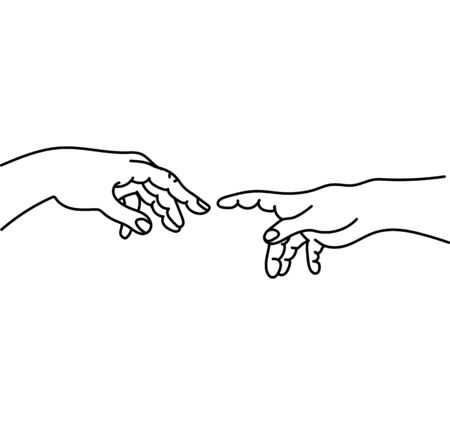Helping  hands black outline vector
