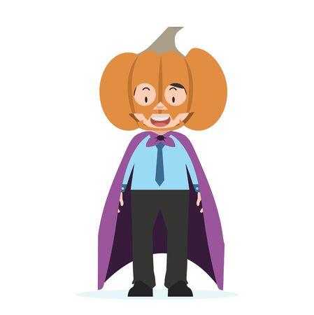 businessman  standing with pumpkin mask