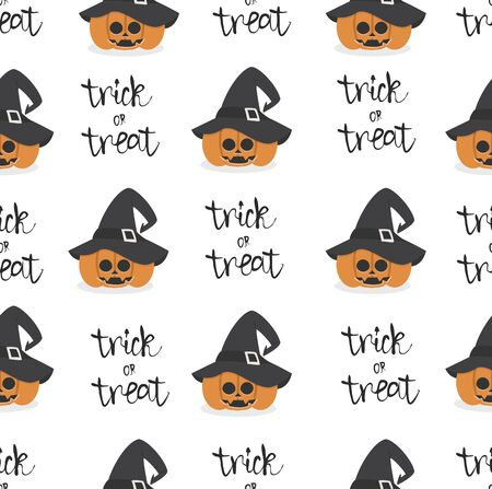 halloween pumpkin wearing witch hat seamless pattern Illusztráció