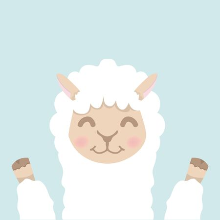 Cute alpaca  fluffy head face vector Vectores