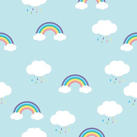 rainbow with  rain drops  seamless pattern Illustration