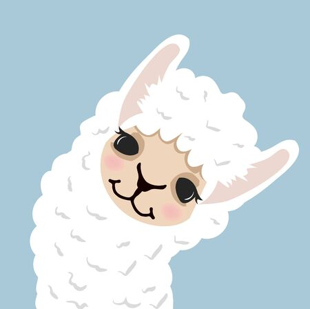 Cute lama alpaca head vector