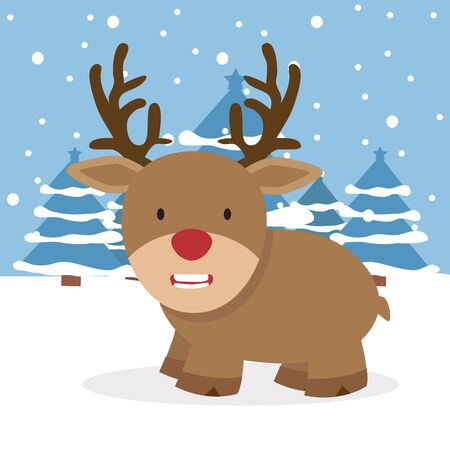 Cute reindeer with Winter nature vector Illusztráció