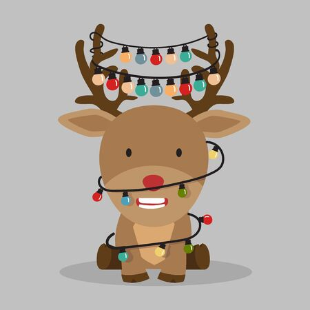 Cute reindeer  with decorated horns