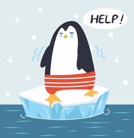 Sad  penguin  on ice floe vector