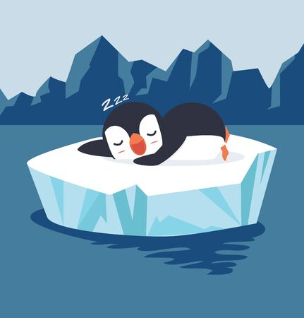 penguin sleep on ice floe vector Illusztráció