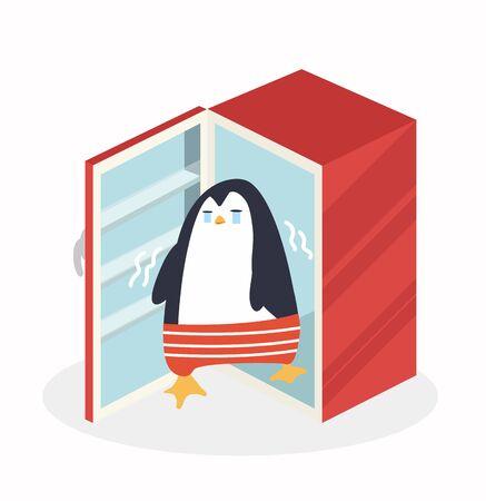 Sad  penguin in refrigerator vector Çizim