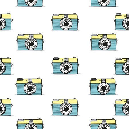 Retro camera doodle  hand-drawn seamless pattern