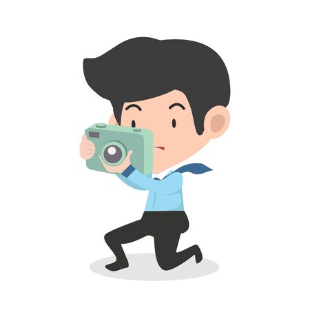 businessman take a photograph with digital camera