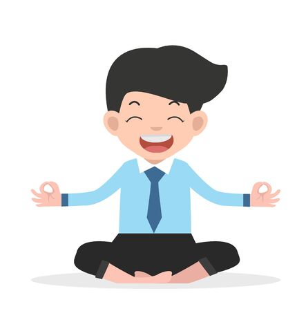 Happy businessman  meditating  yoga vector Illusztráció