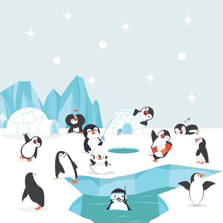 group of penguins north pole Arctic  in the ocean