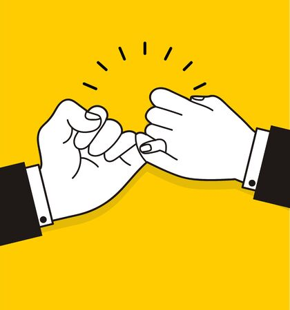 business  making  promise vector on yellow background