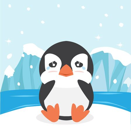 Cute penguin crying  on ice floe