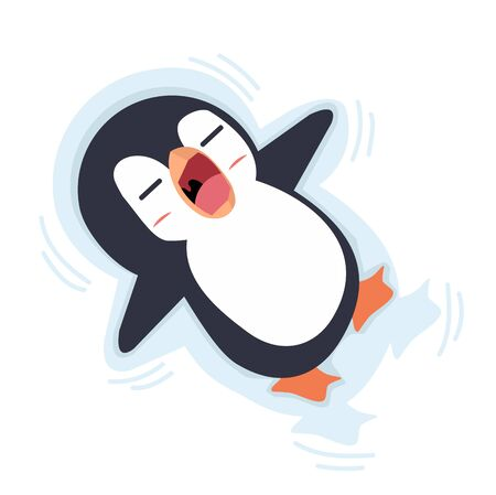 penguin slipping on ice  Vector Illustration