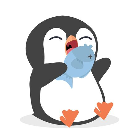 Cute penguin Eating Fish Vector Stock Illustratie