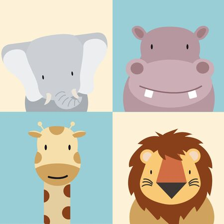 set of Cute animal  Vector illustration