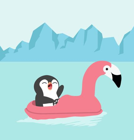 cartoon penguin riding flamingo boat
