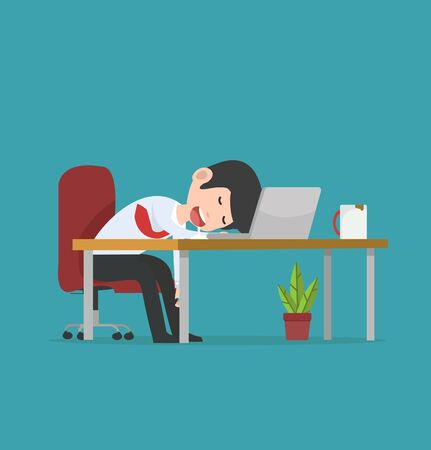 businessman character  Sleeping at work vector