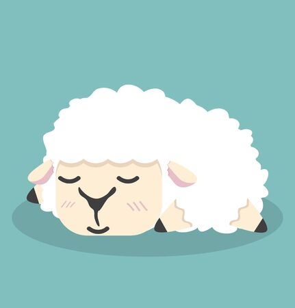 Cute white little sheep sleep vector