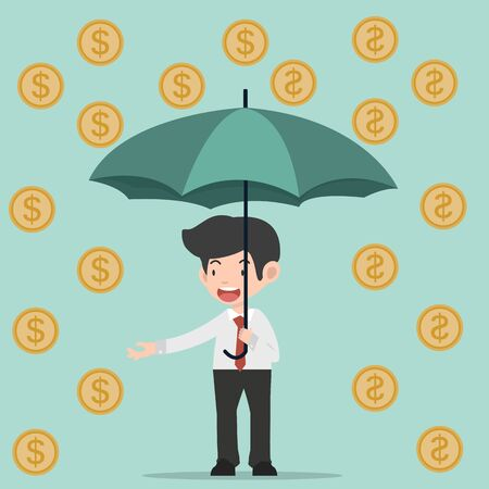businessman hold umbrella with coin