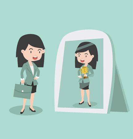 businesswoman looking standing in front of the mirror