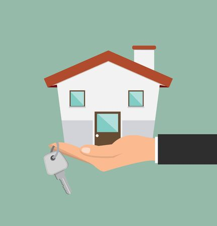 Hand agent with new house and key