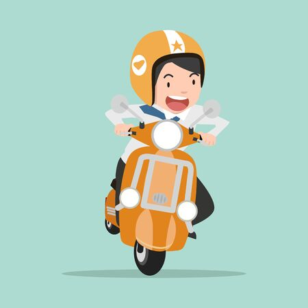 businessman riding a motorcycle going to work Illustration