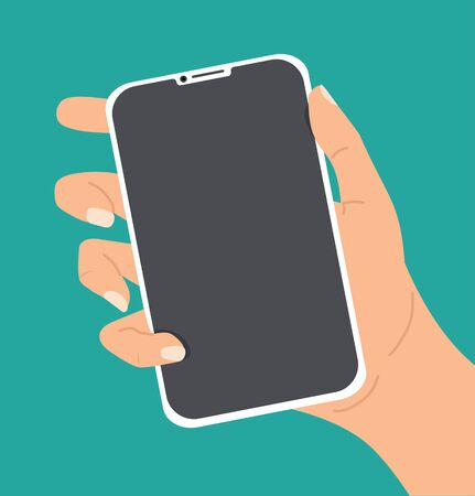Hand holing white smartphone vector