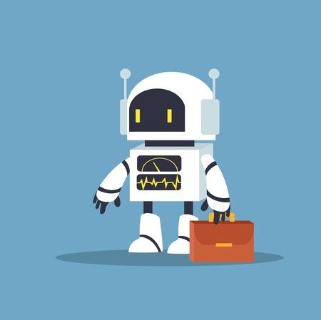 biały robot do pracy wektor znaków