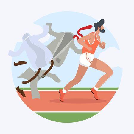 Businessman hurry  running  attractive in racetrack 일러스트