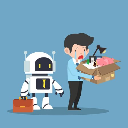 Sad businessman Replacement of job by robot