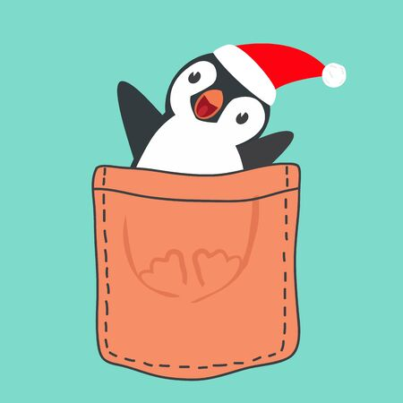 Penguin with red hat in the pocket vector