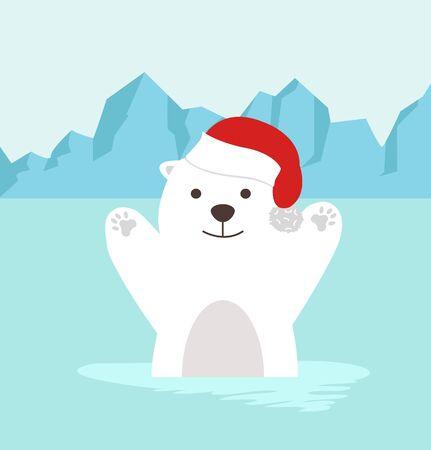 cartoon polar bear in North pole Arctic