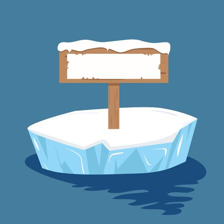 sign post ready for your text on ice floe