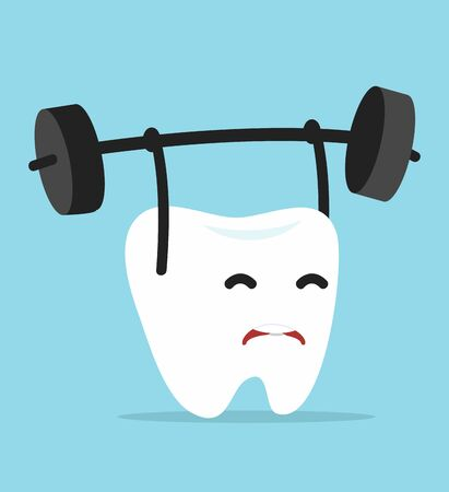 Cute tooth Cartoon Lifting Weights
