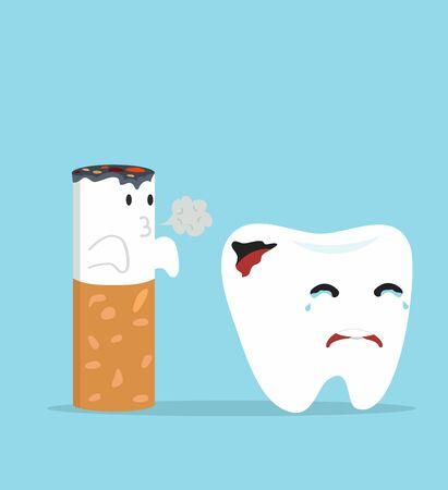 Cute tooth Cartoon dental caries with cigarette Illusztráció