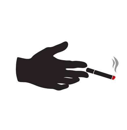 hand with Cigarette Sign vector Stok Fotoğraf - 134717110