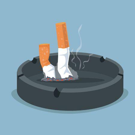 Sigaret in asbak met rookproduct