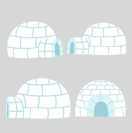 Igloos ice house in flat design vector set