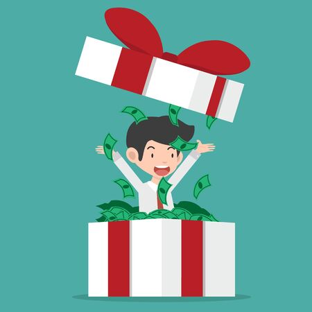 Businessman throwing  dollar cash  with gift box Illustration