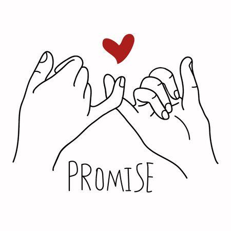 Promessa contorno vettoriale con cuore rosso concept