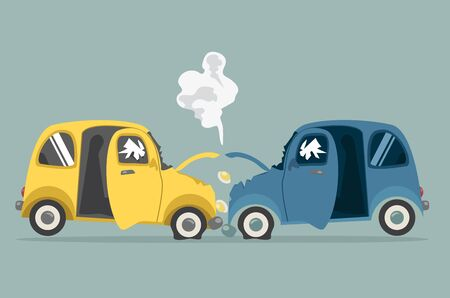 Two car crash Flat design