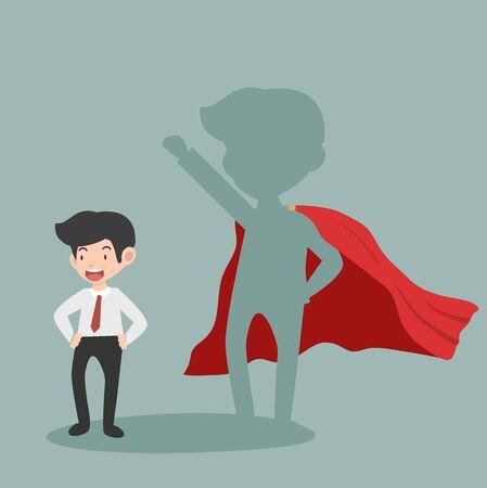 Dibujos animados de concepto de vector de empresario Super seguro Ilustración de vector